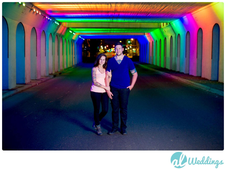 Birmingham,engagement,light,railroad park,rainbow,tunnel,